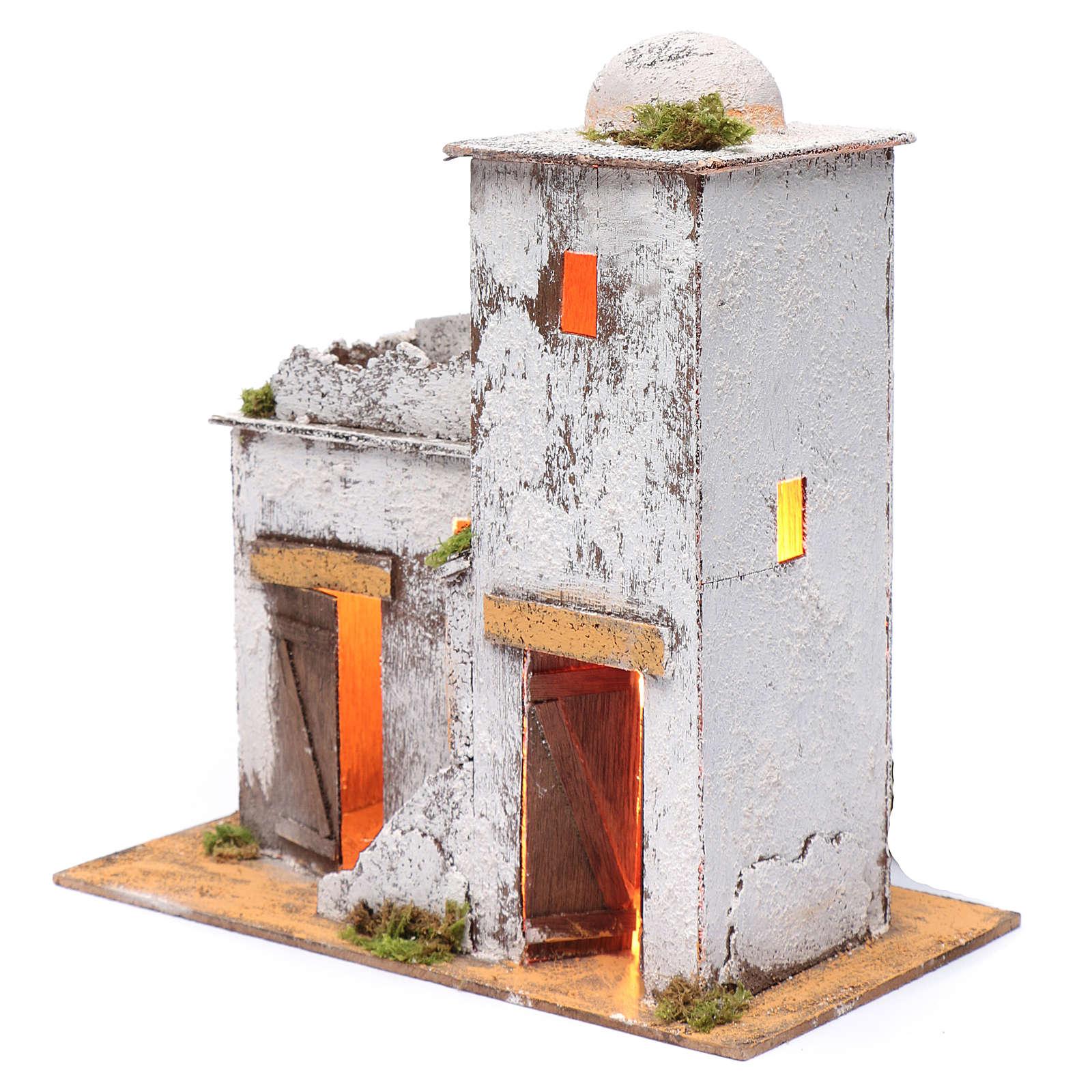 Casa árabe 35 x 35 x 20 cm luz y portas de madera 4