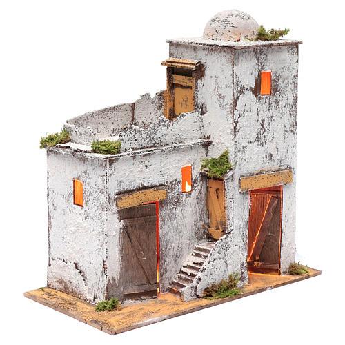 Casa árabe 35 x 35 x 20 cm luz y portas de madera 3