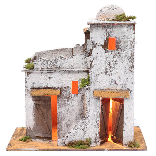 Neapolitan nativity scene Arabian house 35x35x20 cm with light and wooden door 1