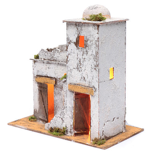 Neapolitan nativity scene Arabian house 35x35x20 cm with light and wooden door 2