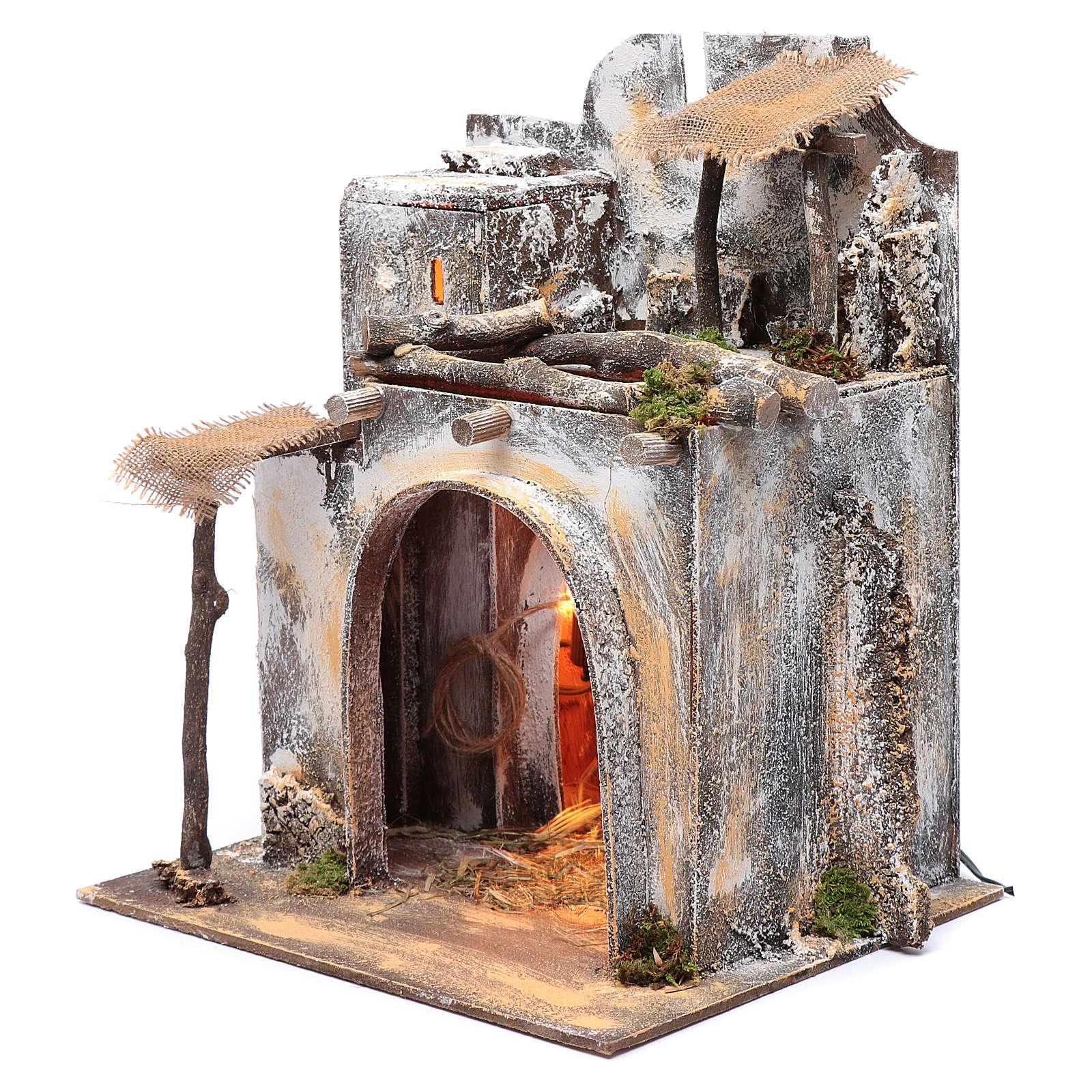 Neapolitan nativity scene Arabian house  35x30x25 cm with light and hut with straw 4