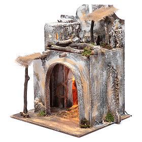 Neapolitan nativity scene Arabian house  35x30x25 cm with light and hut with straw s2