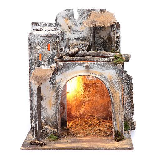 Neapolitan nativity scene Arabian house  35x30x25 cm with light and hut with straw 1