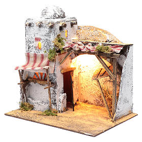 Neapolitan nativity scene Arabian setting 30x30x20 cm with curtain and trough s2