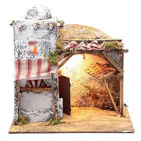 Neapolitan nativity scene Arabian setting 30x30x20 cm with curtain and trough s1
