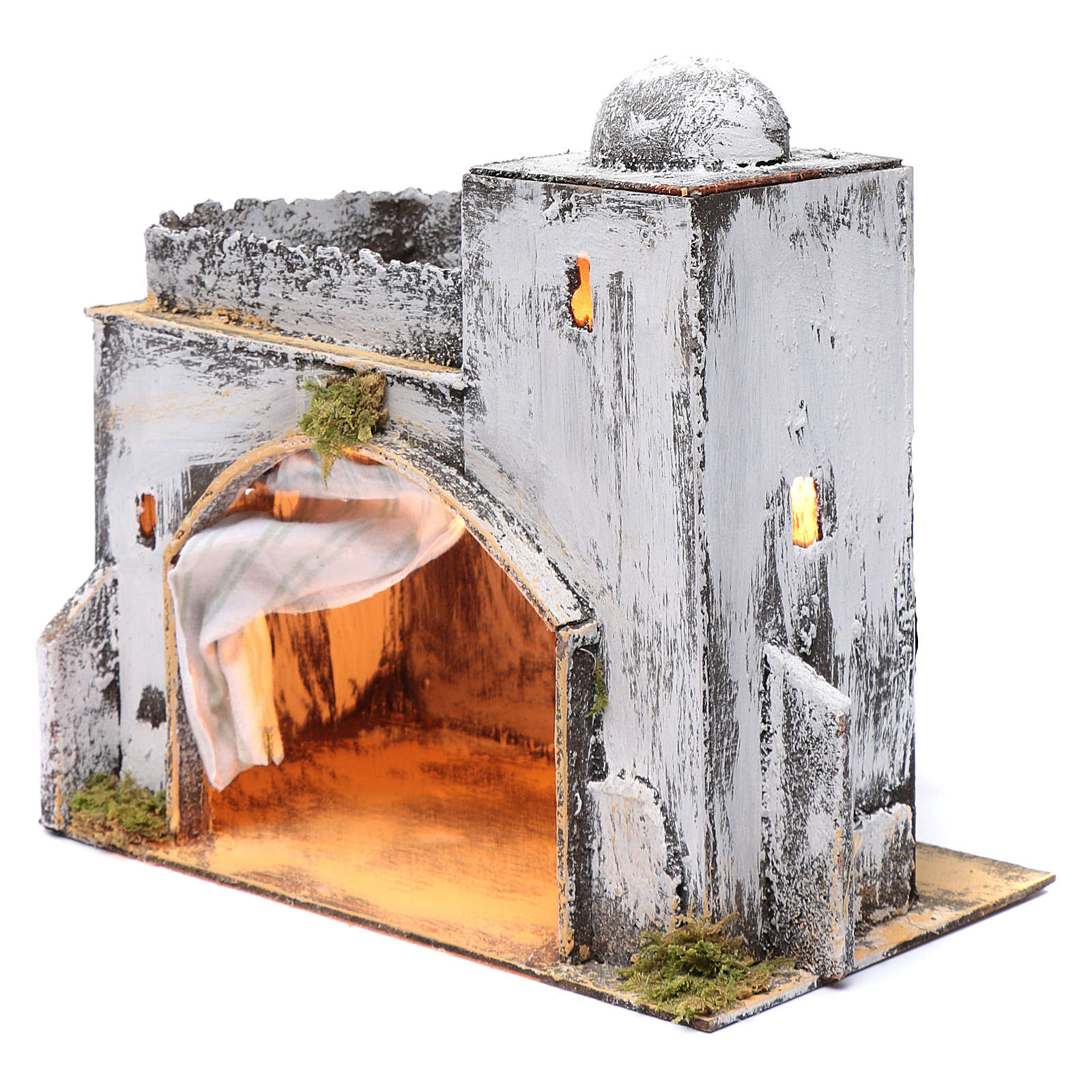 Neapolitan nativity scene setting Arabian hut with curtain  30x30x20 cm 4