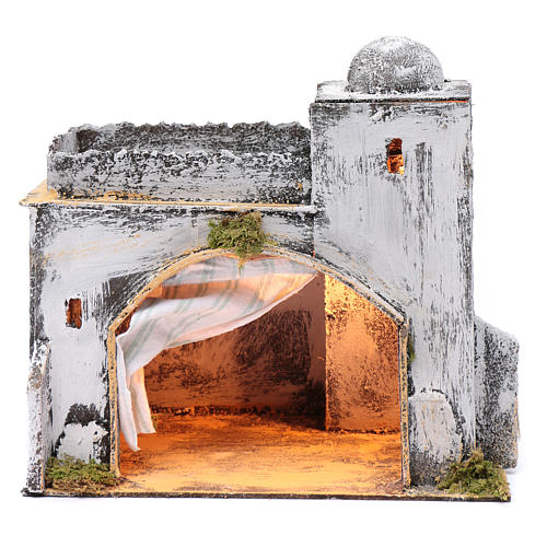 Neapolitan nativity scene setting Arabian hut with curtain  30x30x20 cm 1