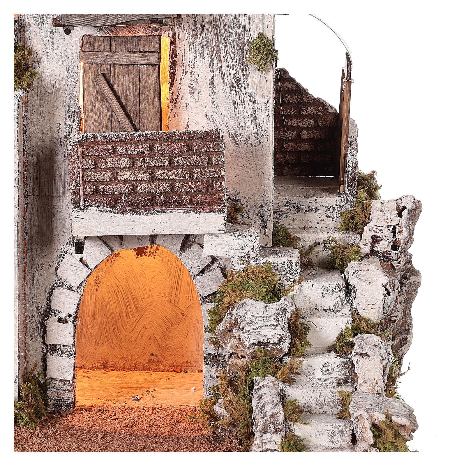 Neapolitan nativity scene setting Arabian house with stairs and hut 35x35x25 cm 4