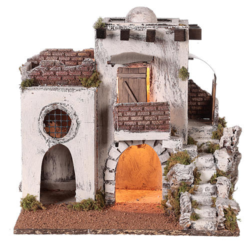 Neapolitan nativity scene setting Arabian house with stairs and hut 35x35x25 cm 1