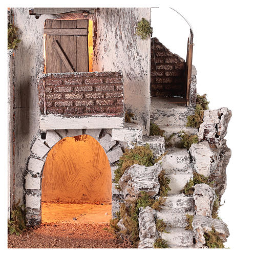 Neapolitan nativity scene setting Arabian house with stairs and hut 35x35x25 cm 2
