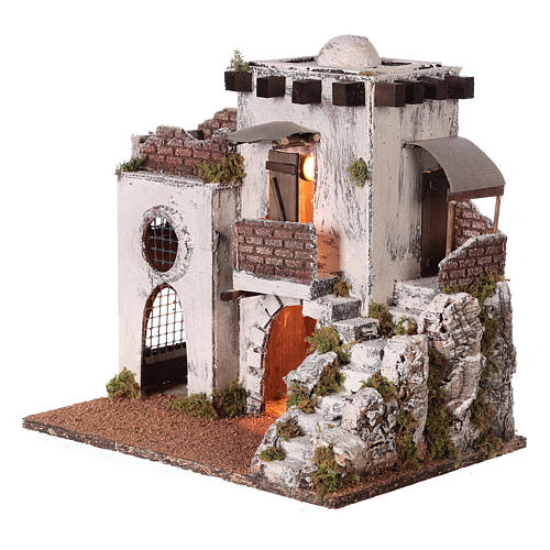 Neapolitan nativity scene setting Arabian house with stairs and hut 35x35x25 cm 3