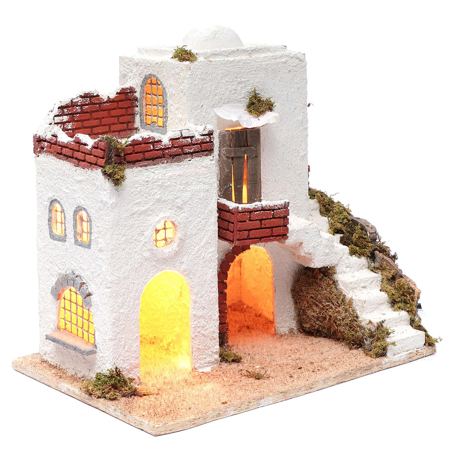 Casa árabe blanca pesebre napolitano 35 x 35 x 25 cm 4