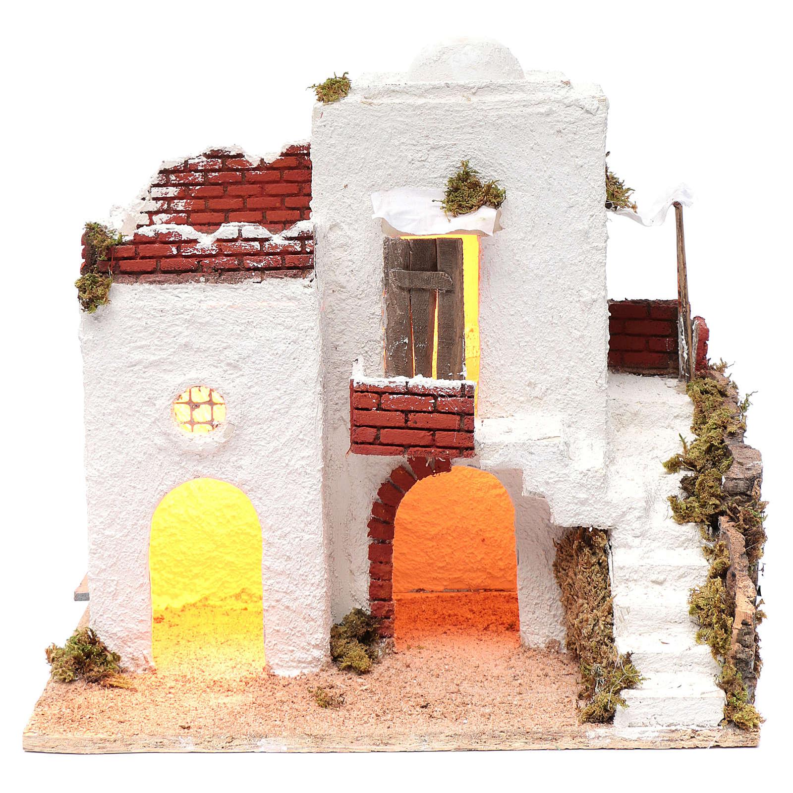 Casa araba bianca con scala e capanna 35x35x25 cm presepe di Napoli 4