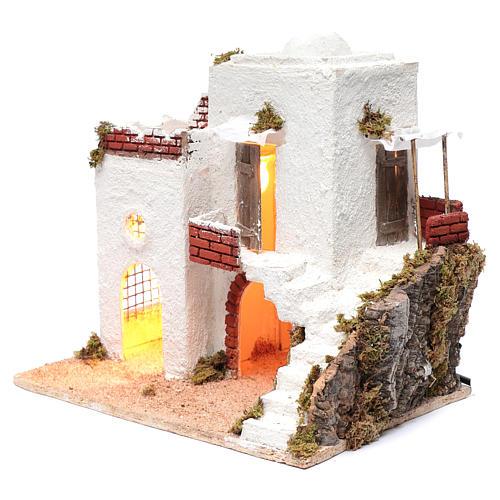 Casa araba bianca con scala e capanna 35x35x25 cm presepe di Napoli 2
