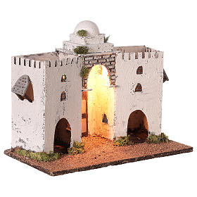 Neapolitan nativity scene setting Arabian setting with double arch and door 30x35x20 cm s4