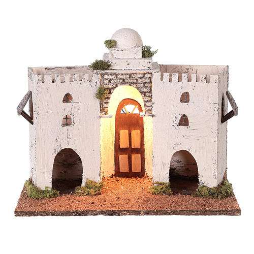 Neapolitan nativity scene setting Arabian setting with double arch and door 30x35x20 cm 1