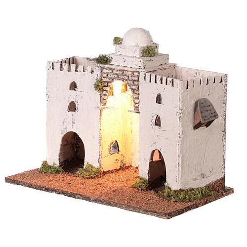 Neapolitan nativity scene setting Arabian setting with double arch and door 30x35x20 cm 3