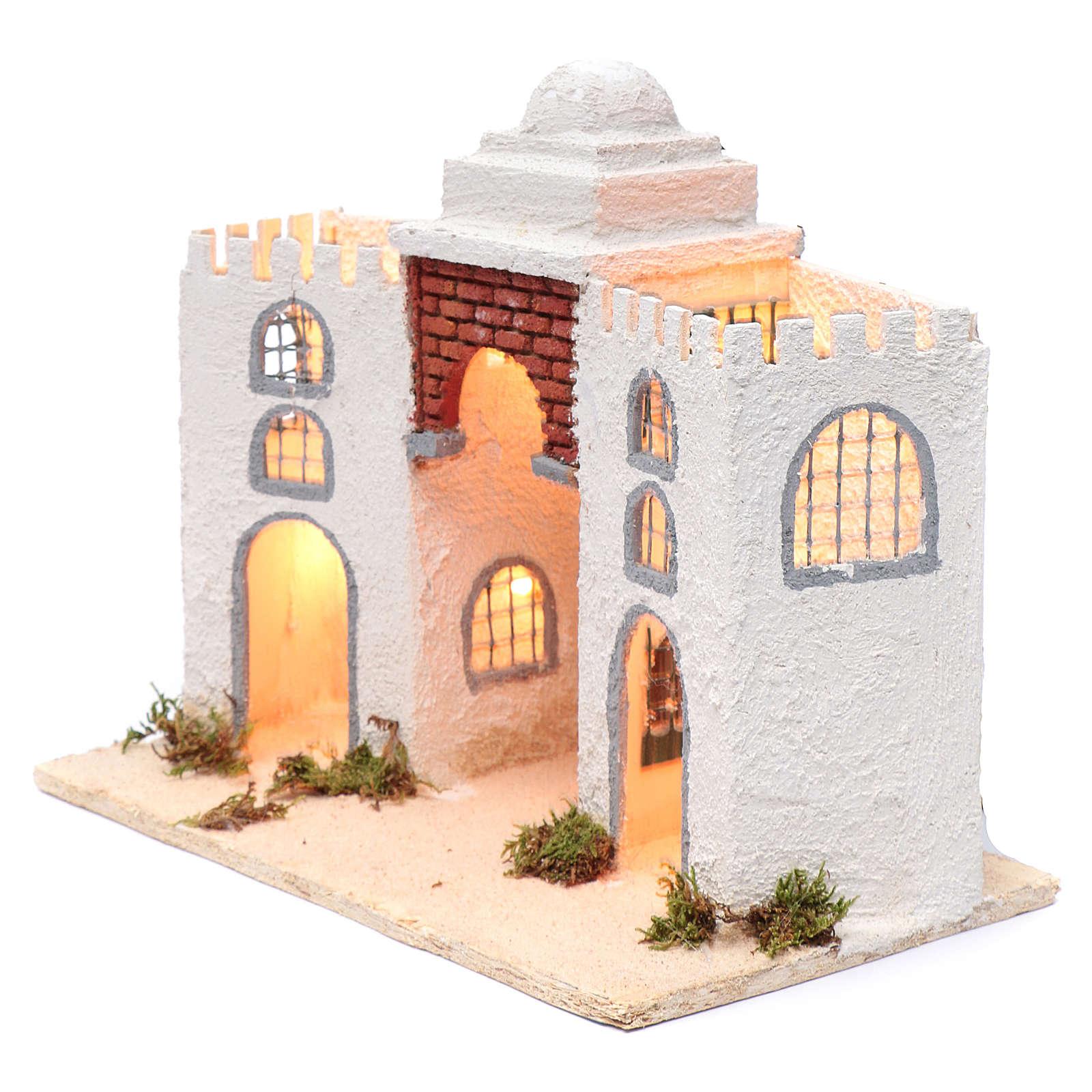 Ambientación casa árabe blanca doble arco y puerta 30 x 35 x 20 cm belén napolitano 4
