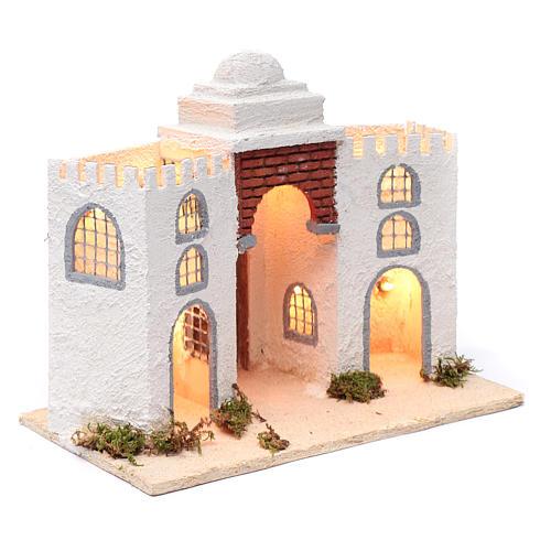 Ambientación casa árabe blanca doble arco y puerta 30 x 35 x 20 cm belén napolitano 3