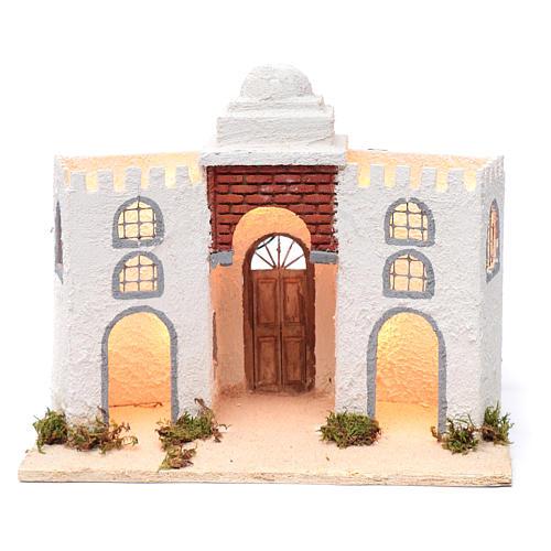Ambientazione araba bianca doppio arco e porta 30x35x20 cm presepe di Napoli 1