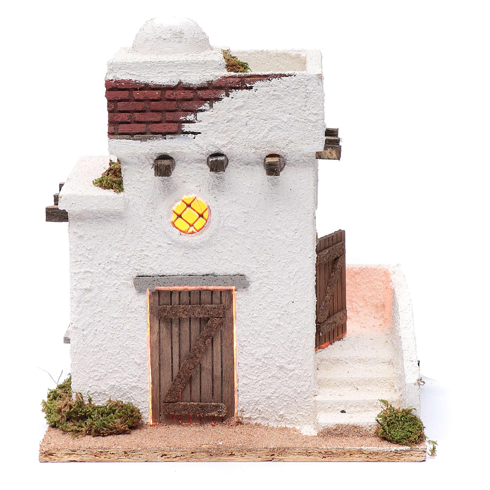 Casa araba porte in legno cupola e terrazzo 30x25x20 cm presepe napoletano 4