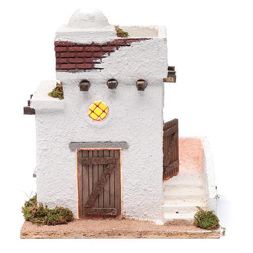 Casa araba porte in legno cupola e terrazzo 30x25x20 cm presepe napoletano 1
