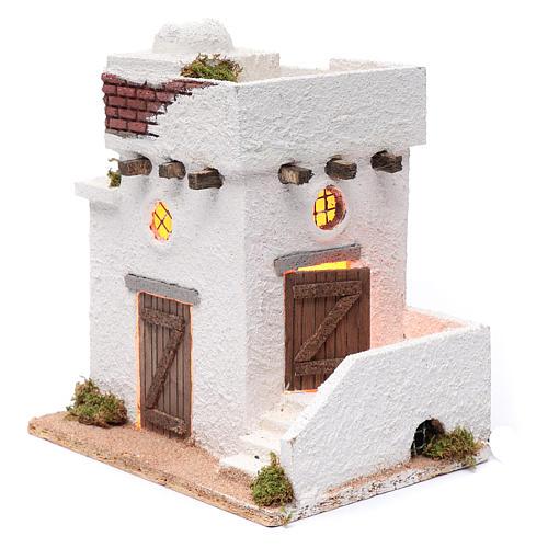 Casa araba porte in legno cupola e terrazzo 30x25x20 cm presepe napoletano 2