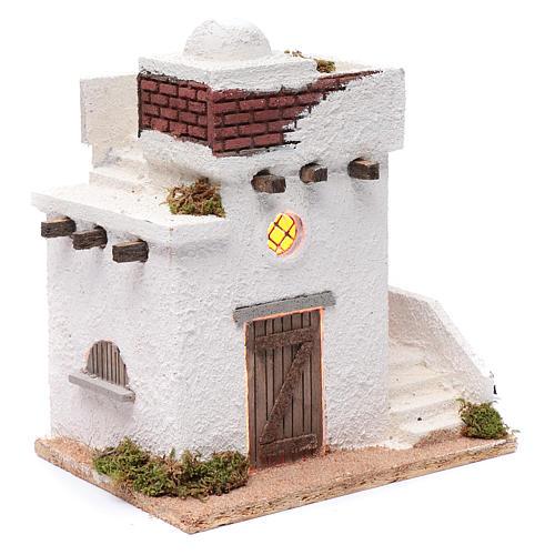 Casa araba porte in legno cupola e terrazzo 30x25x20 cm presepe napoletano 3