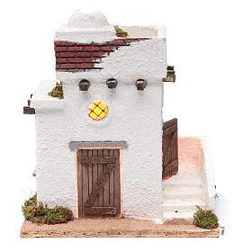 Presépio Napolitano: Casa árabe portas em madeira cúpula e varanda 30x25x20 cm presépio napolitano