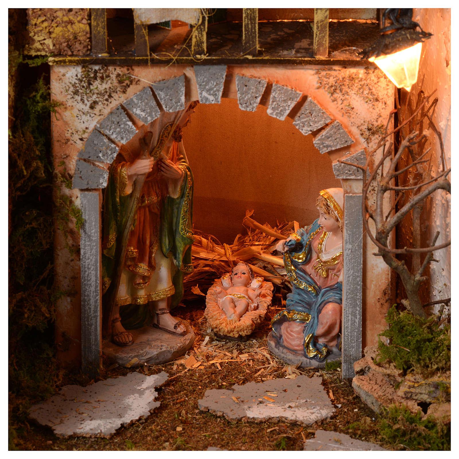 Szopka 70x115x70 cm podświetlana Święta Rodzina pasterze poruszający się i strumień 4