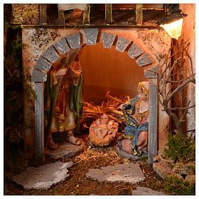 Szopka 70x115x70 cm podświetlana Święta Rodzina pasterze poruszający się i strumień s4