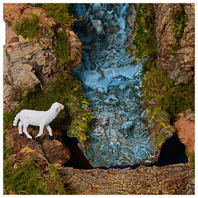 Szopka 70x115x70 cm podświetlana Święta Rodzina pasterze poruszający się i strumień s7