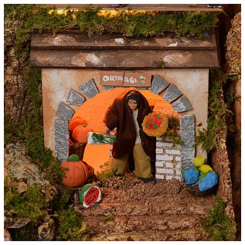 Szopka 70x115x70 cm podświetlana Święta Rodzina pasterze poruszający się i strumień 5