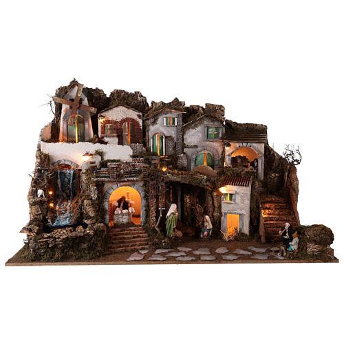 Szopka 70x115x70 cm podświetlana Święta Rodzina pasterze poruszający się i strumień 10