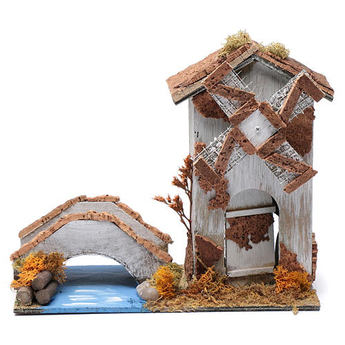 Old nativity scene windmill 20x25x10 cm 1