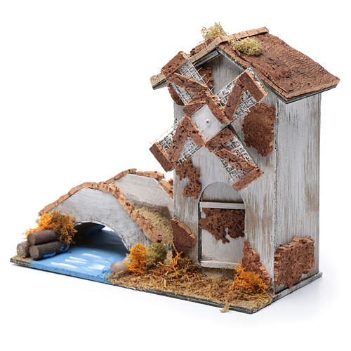 Old nativity scene windmill 20x25x10 cm 2
