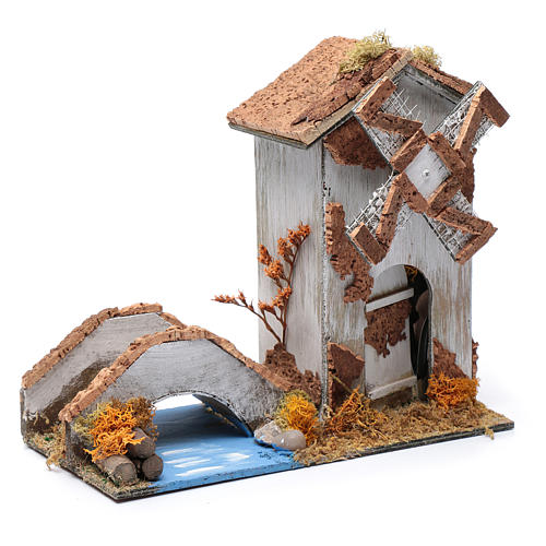 Old nativity scene windmill 20x25x10 cm 3