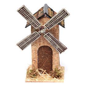 Moulin à vent faux en liège crèche 12,5x7x7 cm s1
