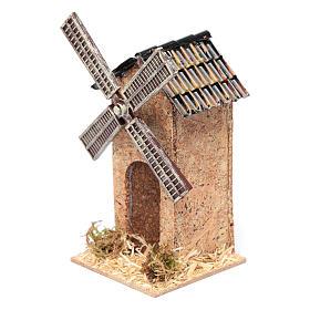 Moulin à vent faux en liège crèche 12,5x7x7 cm s2