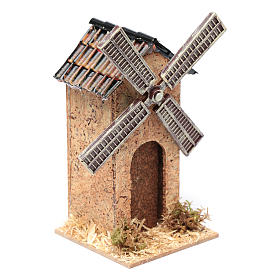 Moulin à vent faux en liège crèche 12,5x7x7 cm s3