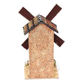 Moulin à vent faux en liège crèche 12,5x7x7 cm s4