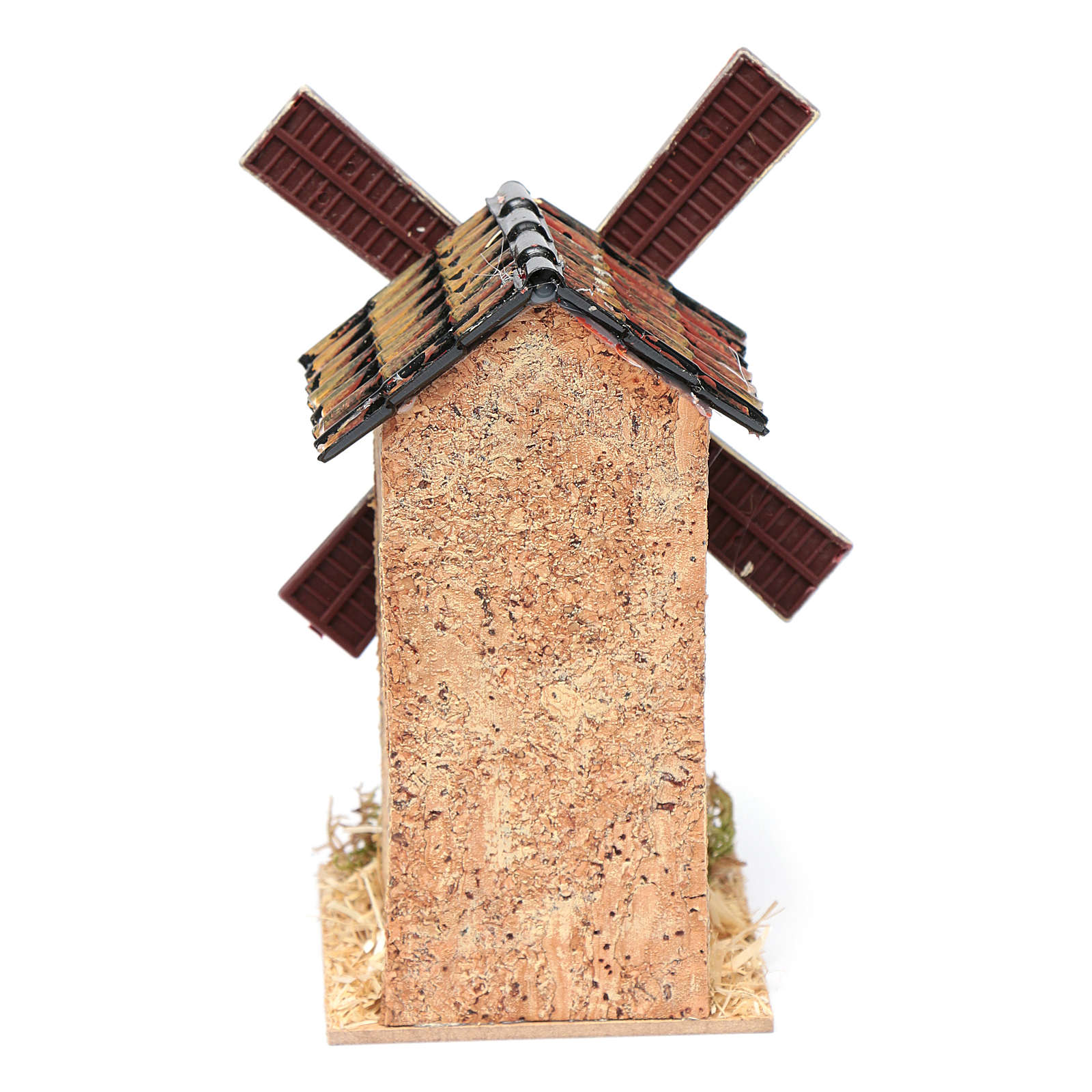 Mulino a vento finto in sughero presepe 10x5x5 4