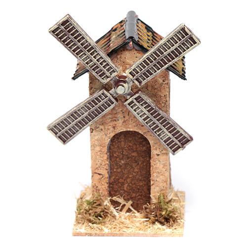 Moinho de vento falso em cortiça presépio 10x5x5 cm 1