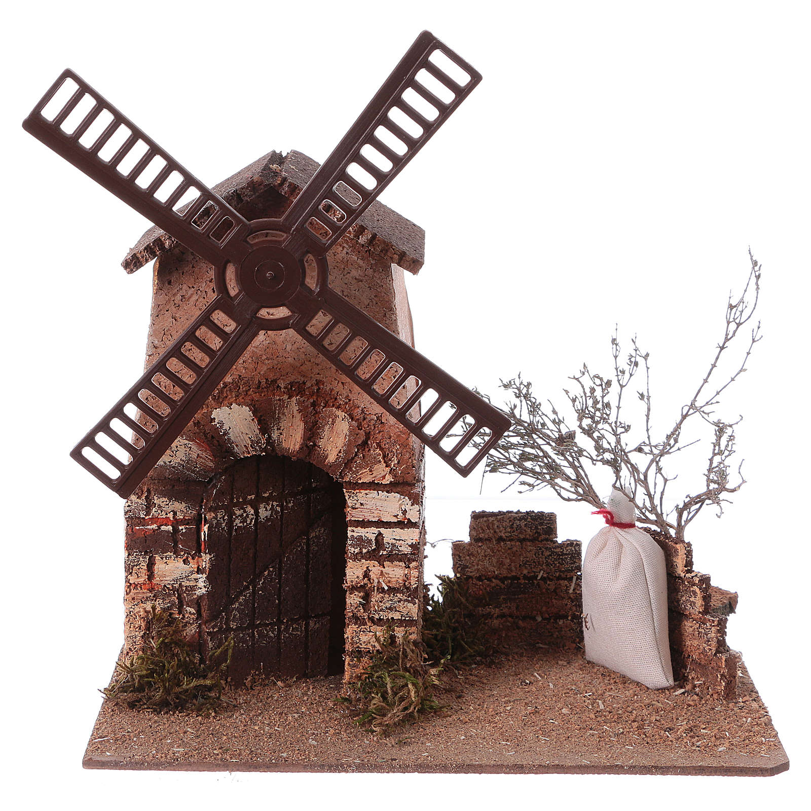 Nativity scene windmill in cork 20x15x25 cm 4