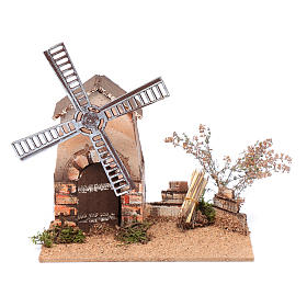 Nativity scene windmill in cork 20x15x25 cm s1