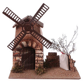 Nativity scene windmill in cork 20x15x25 cm s5