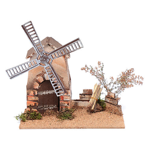 Nativity scene windmill in cork 20x15x25 cm 1