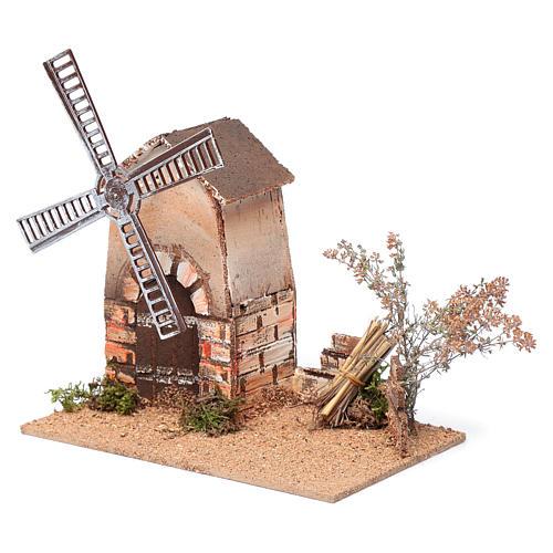 Nativity scene windmill in cork 20x15x25 cm 2