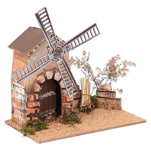 Nativity scene windmill in cork 20x15x25 cm 3