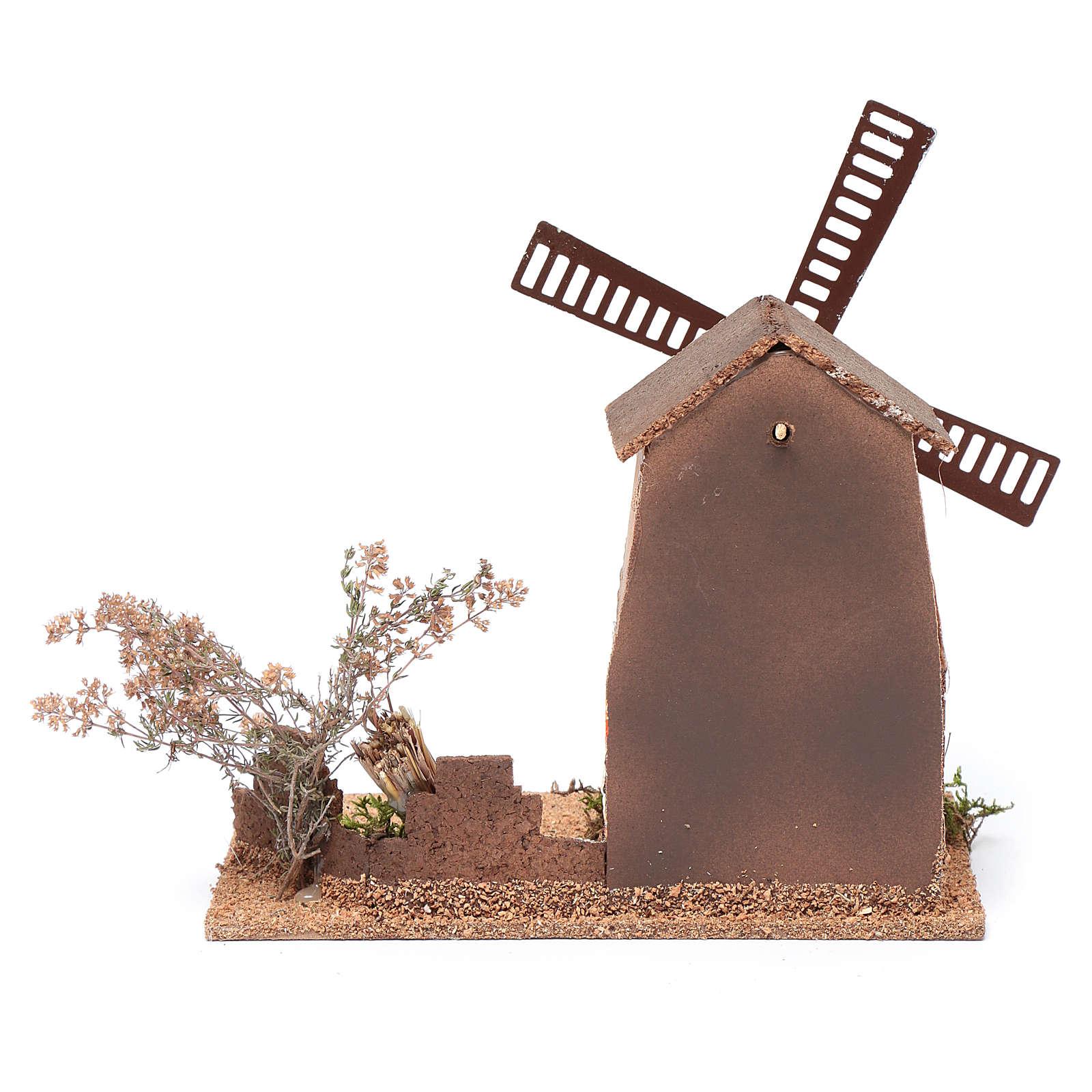 Mulino a vento finto presepe in sughero 20x15x25 cm 4